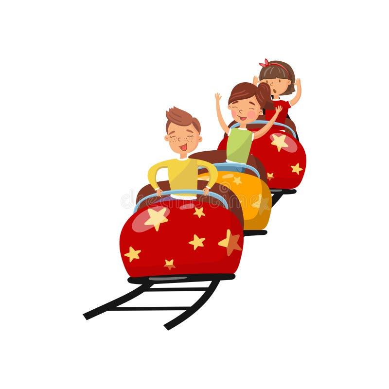 Gente feliz que monta en la montaña rusa en el ejemplo del vector de la historieta del parque de atracciones stock de ilustración