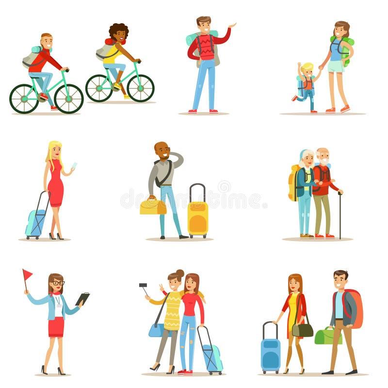 Gente feliz que viaja y que tiene acampadas fijadas de caracteres planos de los turistas de la historieta stock de ilustración