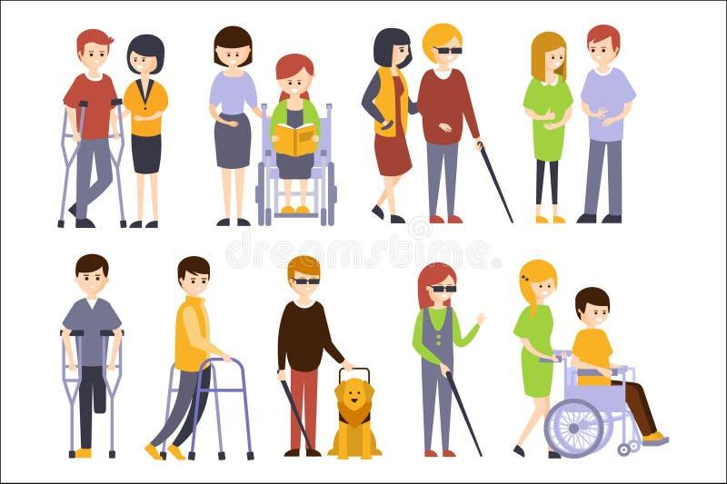 Gente fisicamente handicappata che riceve aiuto e supporto dalla loro famiglia degli amici, godente della vita completa con l'ina royalty illustrazione gratis
