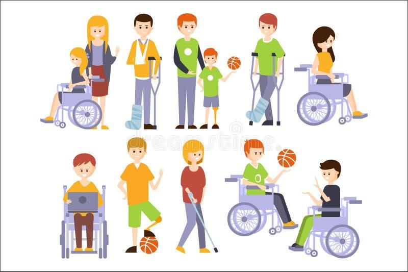 Gente fisicamente handicappata che vive vita felice completa con l'insieme di inabilità degli uomini e delle donne disabili sorri illustrazione vettoriale