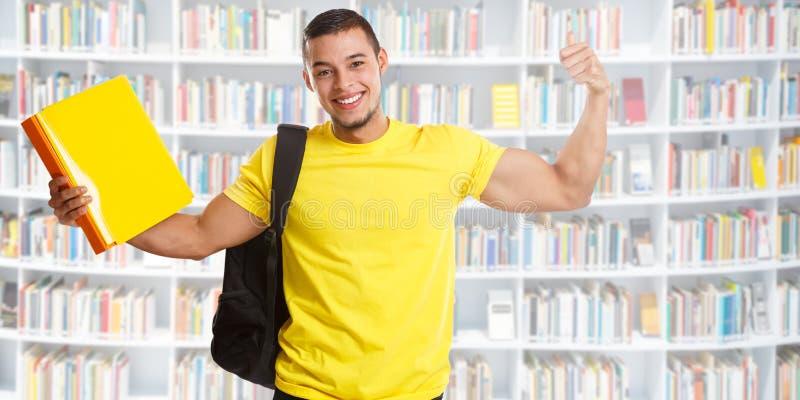 Gente fuerte de la biblioteca del poder de la bandera acertada del éxito del estudiante imagen de archivo