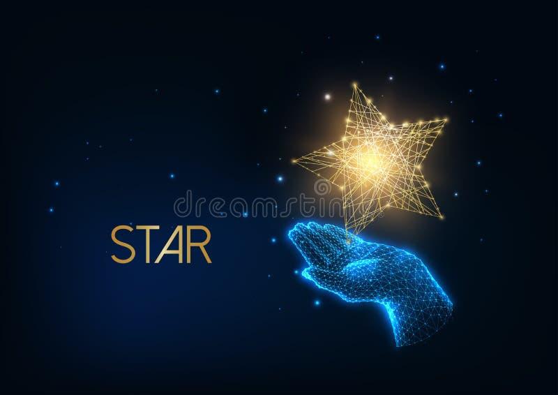 Gente futurista premio, concepto de excelencia con brillantes manos polígonales bajas humanos sosteniendo estrella dorada ilustración del vector