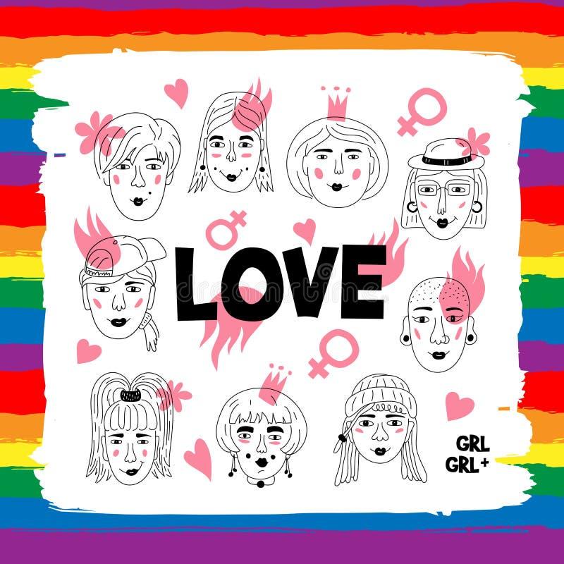 Gente gay de los pares de las lesbianas, cartel de las letras de amor Caras del ` s de las mujeres, muchachas informales, modelo  stock de ilustración