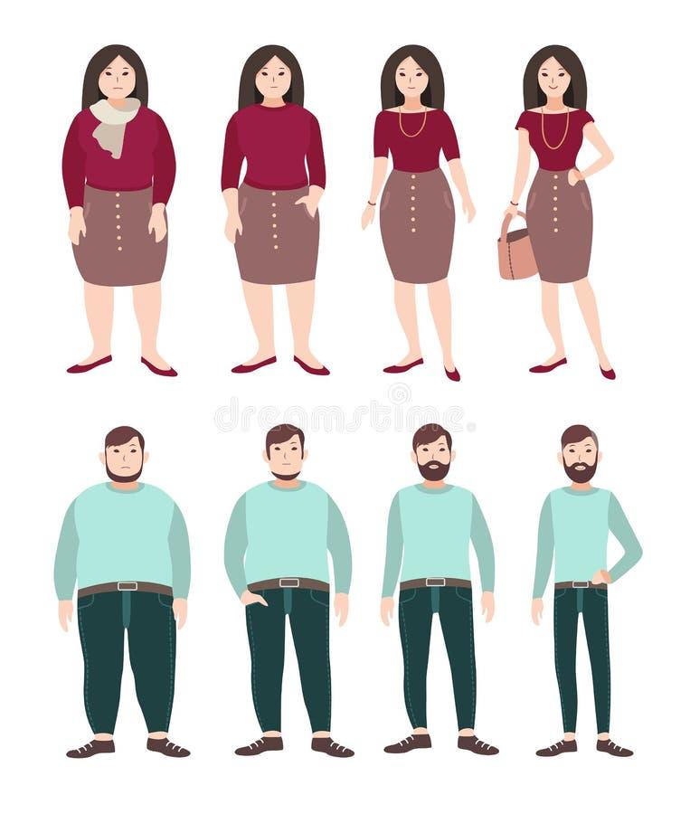 Gente gorda y delgada Concepto de la pérdida de peso Figura de la mujer y del hombre Ejemplo plano colorido ilustración del vector