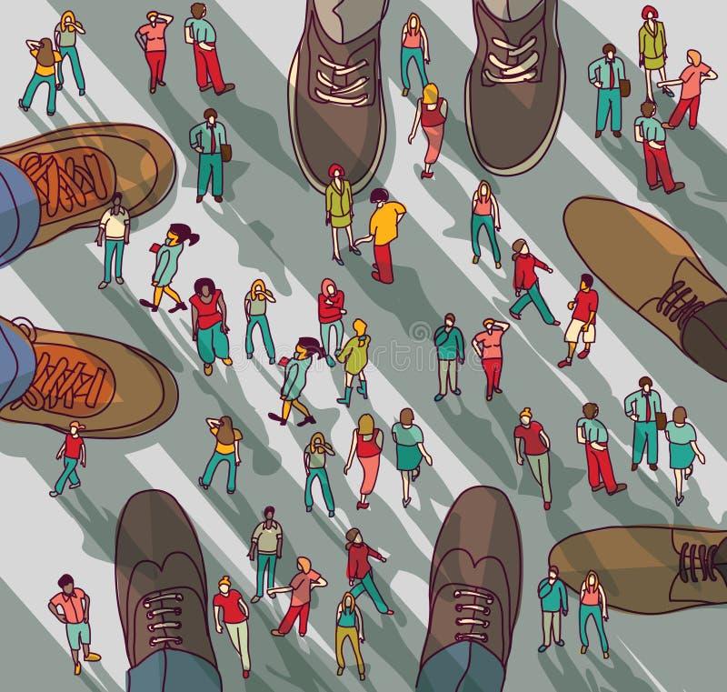 Gente grande del grupo del hombre de negocios de la empresa grande y pequeña stock de ilustración