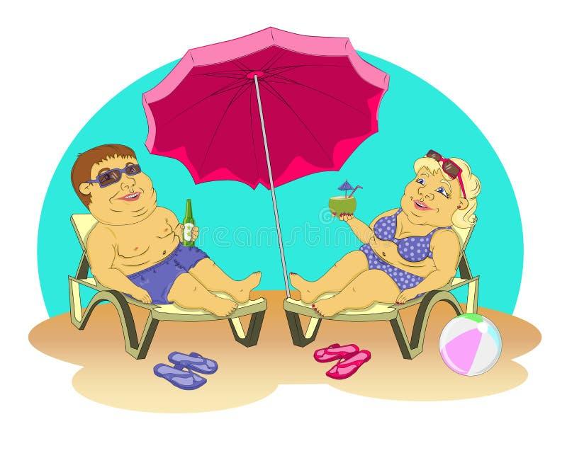 Gente grassa sulla spiaggia illustrazione di stock