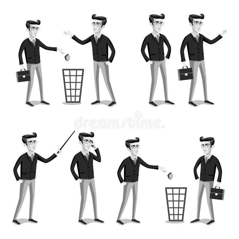 Gente gris de los hombres del vector infographic plano del web del negocio ilustración del vector