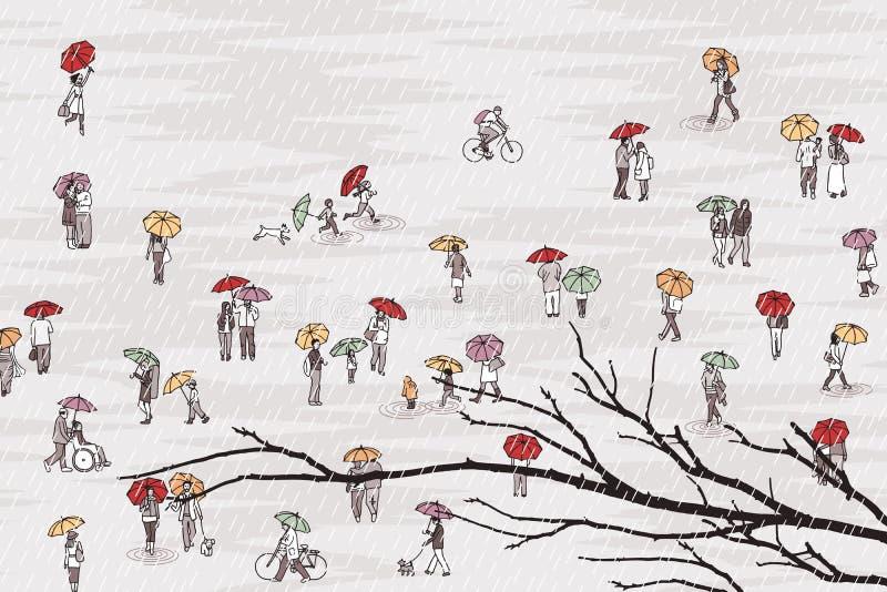 Gente gris minúscula con los paraguas coloridos y rama de árbol en el primero plano stock de ilustración