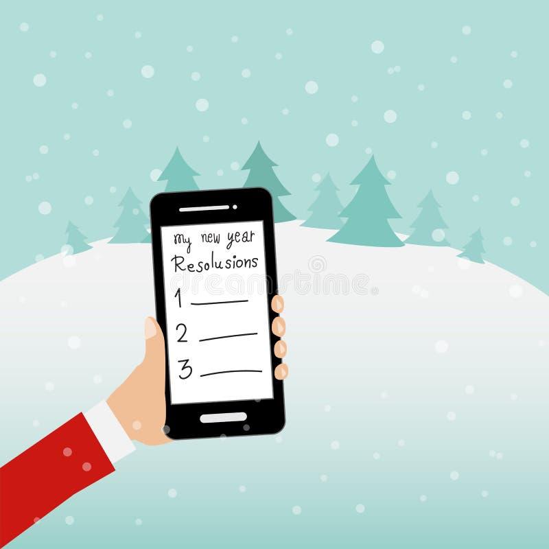 Gente hodling el smartphone para el vector de las resoluciones del Año Nuevo I stock de ilustración