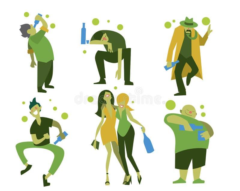 Gente, hombres y mujeres borrachos stock de ilustración