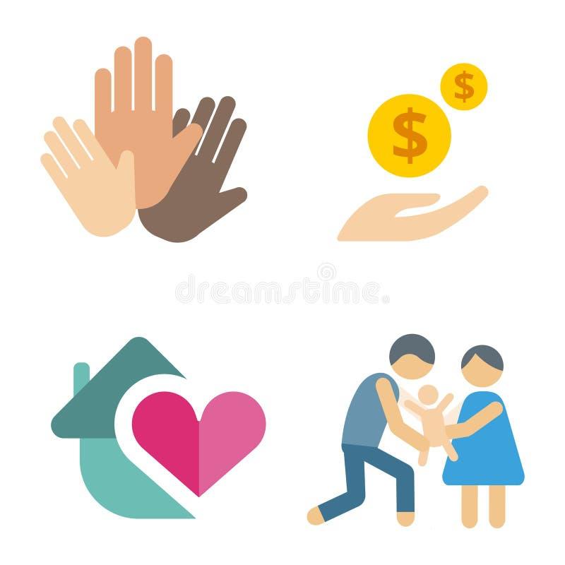 Gente humanitaria determinada de la ayuda de la ayuda de la esperanza de la mano de la conciencia de los iconos de la caridad del libre illustration