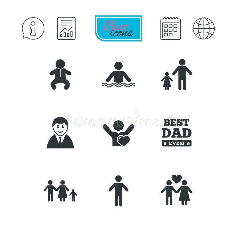 Gente, iconos de la familia Muestra de la piscina libre illustration