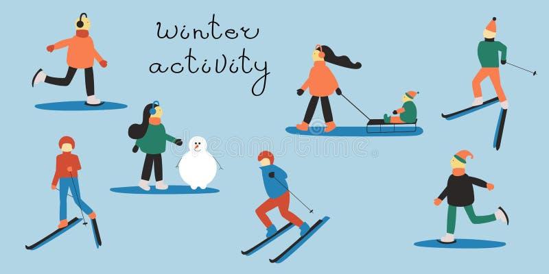 Gente implicada en deportes de invierno: hombre y mujer de esquí; mujer con un niño en un trineo; gente patinadora; mujer que hac stock de ilustración