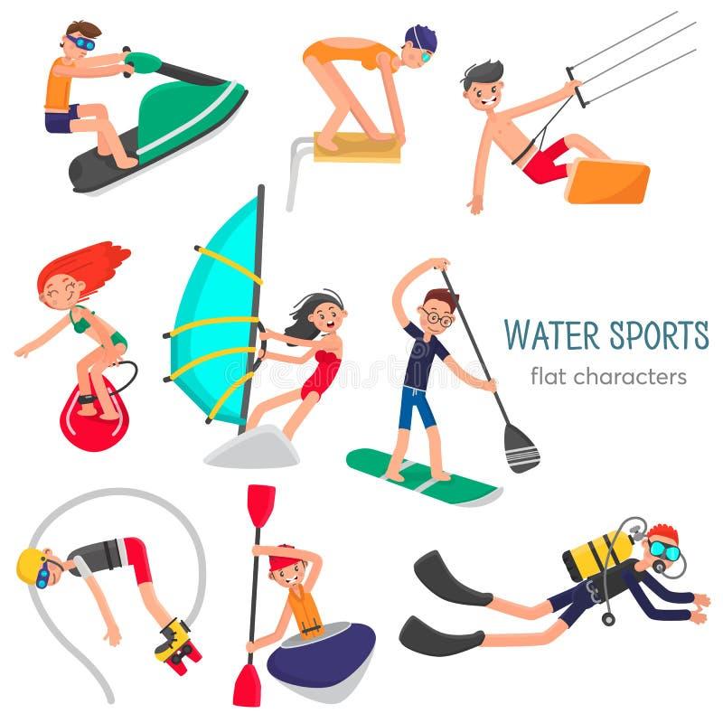 Gente implicada en los caracteres planos de los deportes acuáticos populares y nuevos fijados Ilustración del vector del color libre illustration