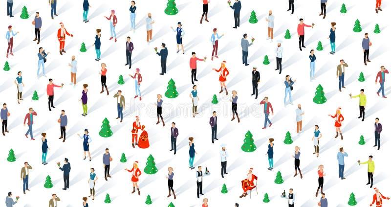 Gente inconsútil isométrica del vector de la Navidad ilustración del vector