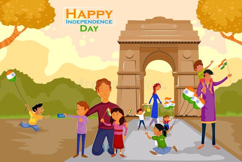 Gente india que celebra el Día de la Independencia feliz de la India libre illustration