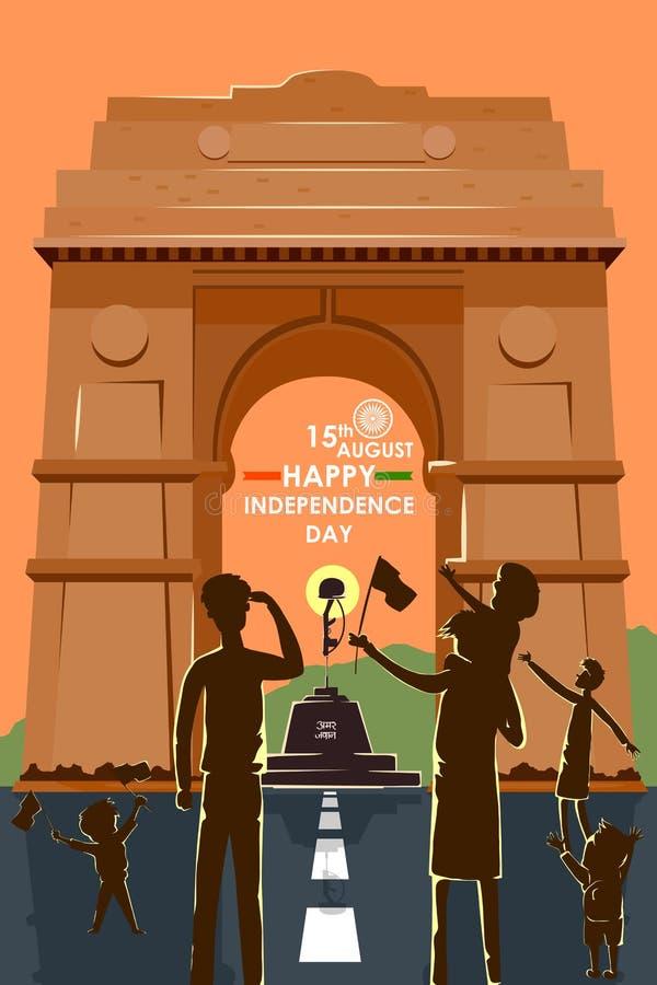 Gente india que celebra el Día de la Independencia feliz de la India ilustración del vector