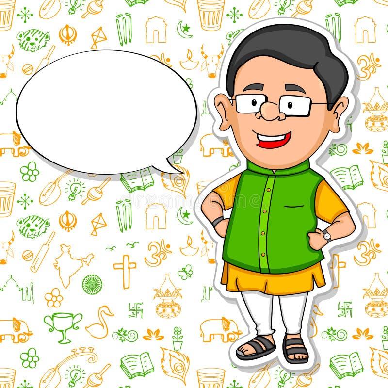 Gente india que desea el Día de la Independencia feliz de la India libre illustration