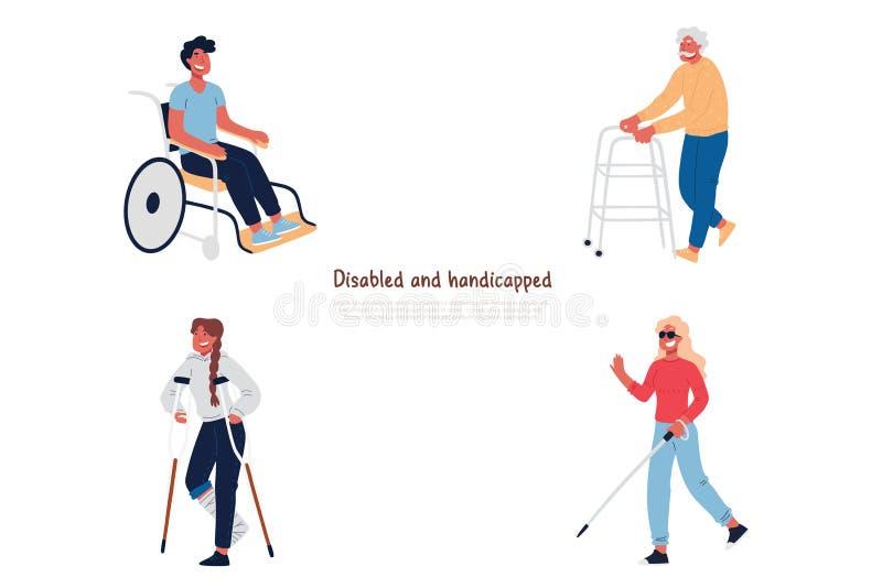 Gente inhabilitada y perjudicada en silla de ruedas, con las muletas, hombre mayor con el caminante, ceguera, bandera pobre de la ilustración del vector