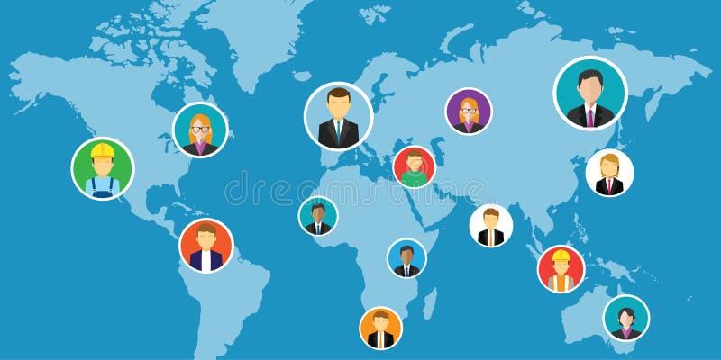 Gente interconectada medios sociales de la red en todo el mundo libre illustration