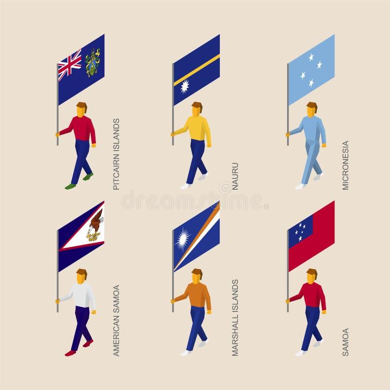 Gente isométrica con las banderas: Pitcairn, Nauru, Micronesia, Samoa, stock de ilustración