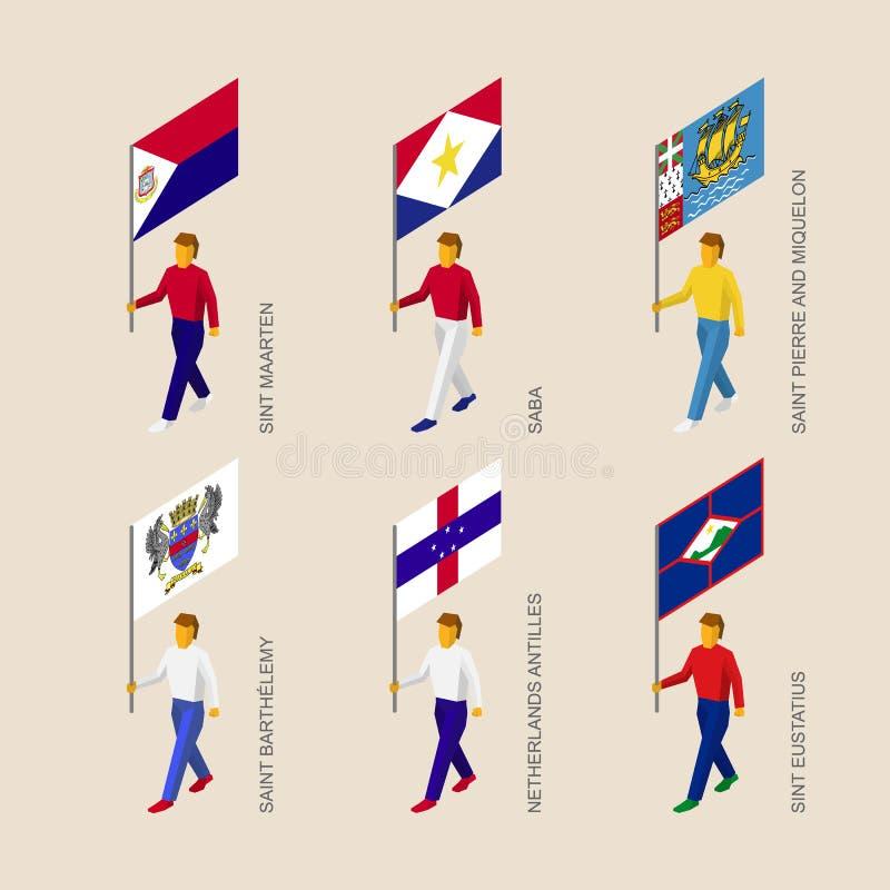 Gente isométrica con las banderas: Sint Maarten, Saba, Saint Pierre, A ilustración del vector