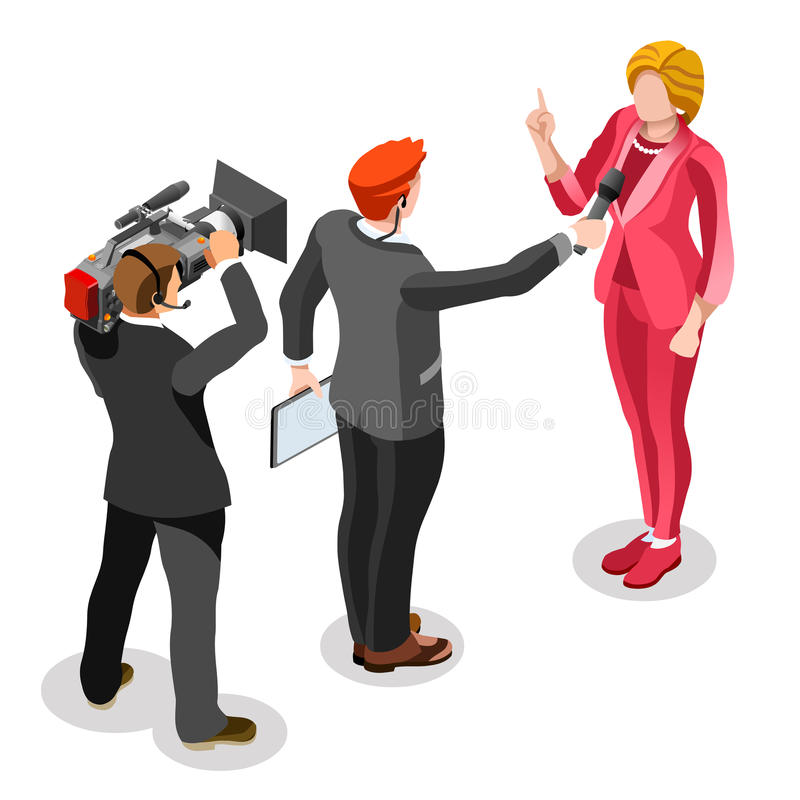 Gente isométrica del vector de las noticias de la entrevista de Infographic de las noticias de la elección ilustración del vector