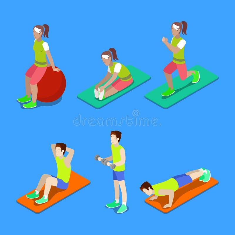 Gente isométrica Hombre y mujer que ejercitan en el gimnasio stock de ilustración