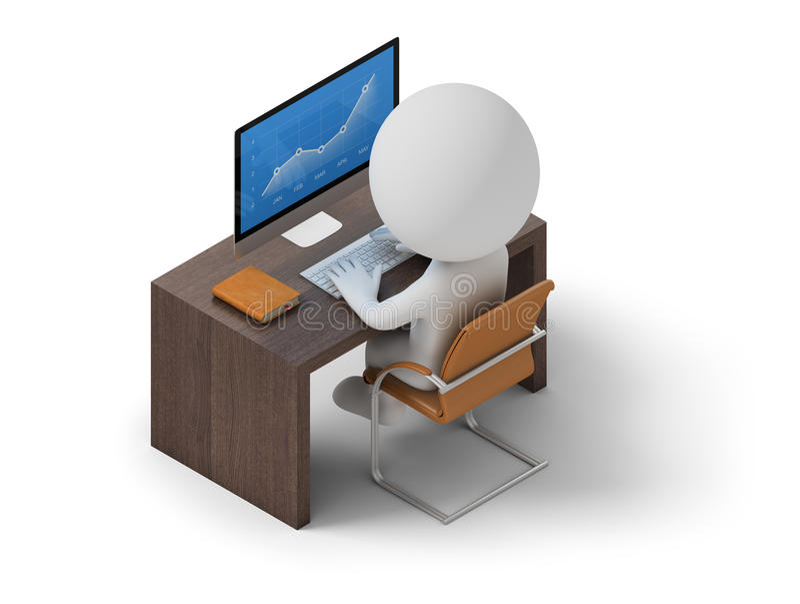 Gente isométrica - lugar de trabajo stock de ilustración