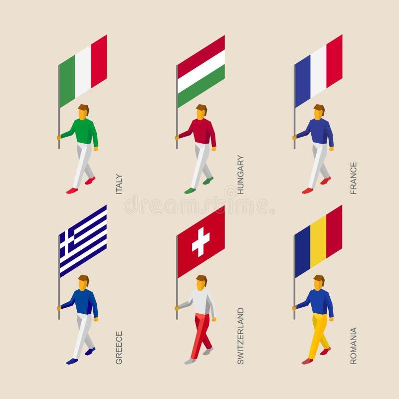 Gente isometrica con la bandiera Francia, Romania, Ungheria, Italia, Swit illustrazione di stock