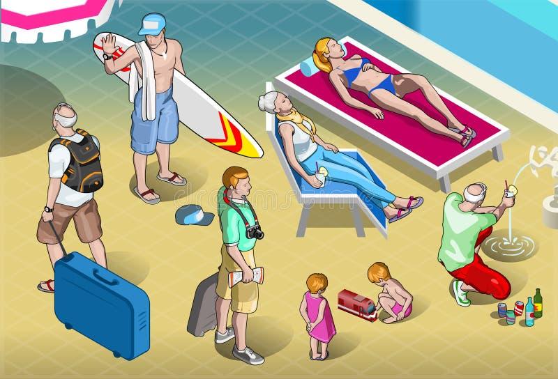 Gente isometrica dei turisti messa alla località di soggiorno illustrazione di stock