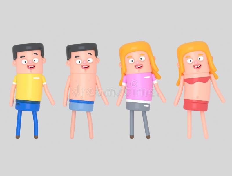 Gente joven con ropa casual y el traje de baño ejemplo 3D, ilustración del vector