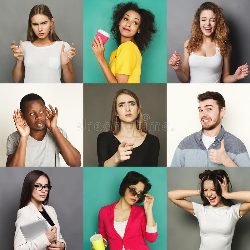 Gente joven diversa positiva y emociones negativas fijadas imagenes de archivo