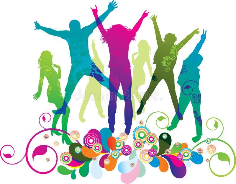 Gente joven en el partido. Los adolescentes del baile. libre illustration