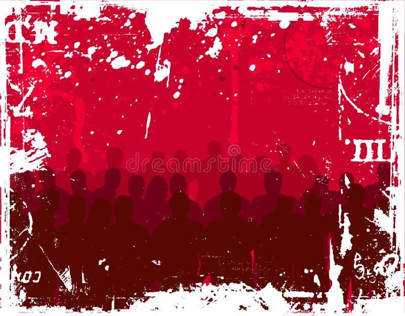Gente joven en fondo del grunge stock de ilustración