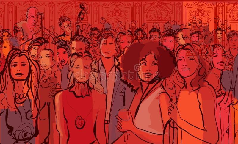 Gente joven en un club de noche stock de ilustración
