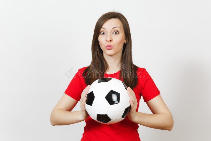 Gente joven, fanático del fútbol o jugador europeo hermoso en el fondo blanco Deporte, juego, salud, concepto sano de la forma de fotos de archivo