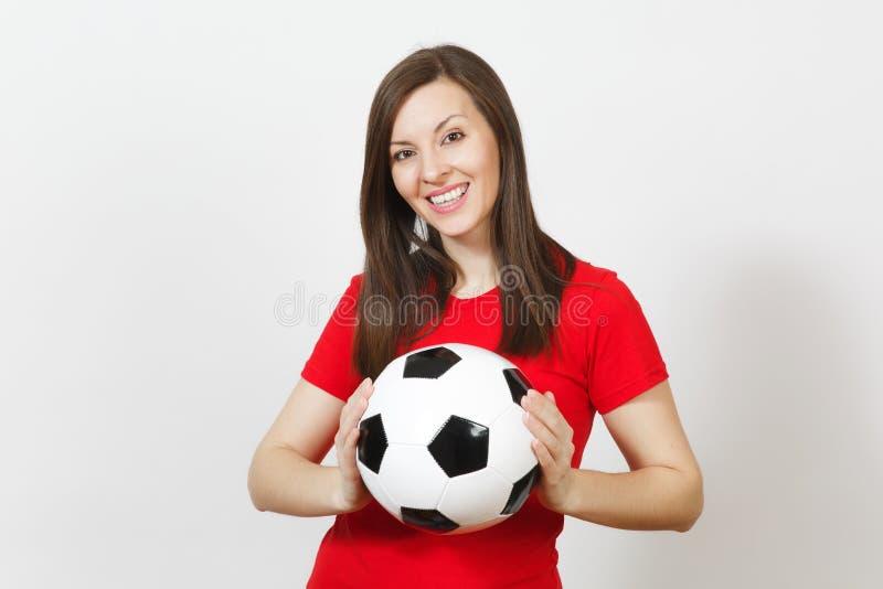 Gente joven, fanático del fútbol o jugador europeo hermoso en el fondo blanco Deporte, juego, salud, concepto sano de la forma de foto de archivo libre de regalías