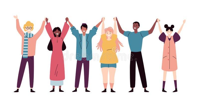 Gente joven feliz que se une y que lleva a cabo las manos ilustración del vector