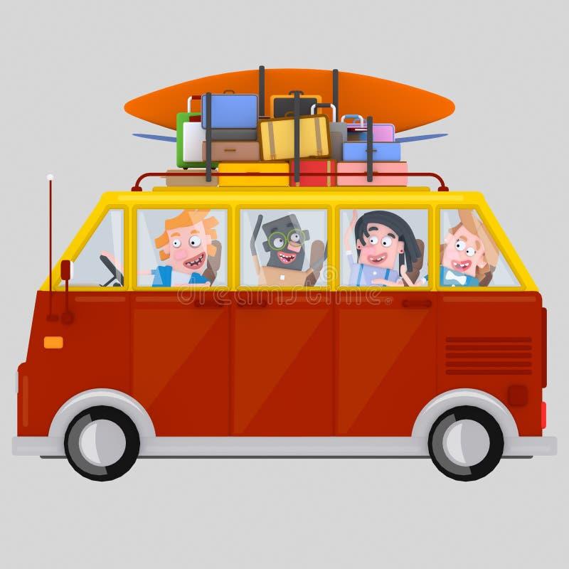 Gente joven que conduce una furgoneta 3d libre illustration