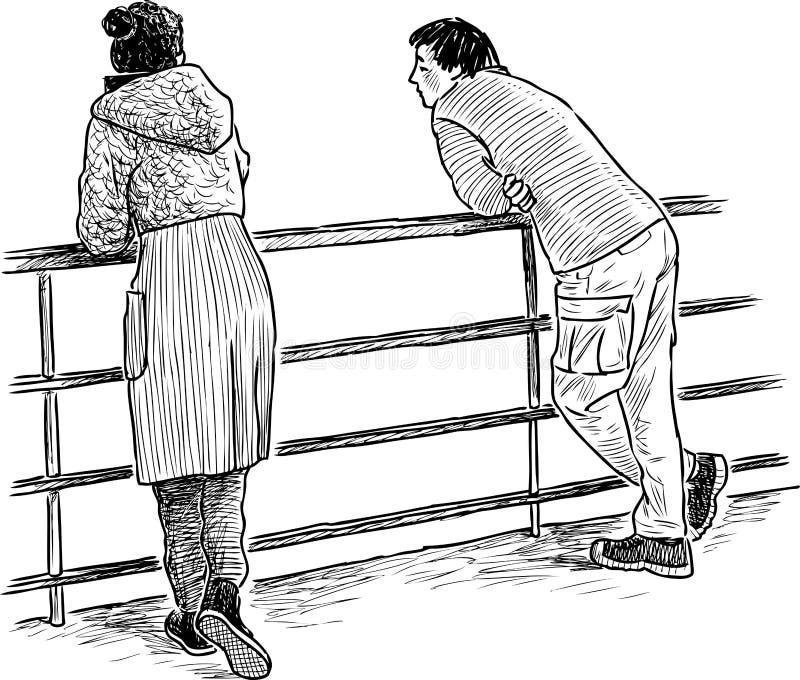 Gente joven que habla en el terraplén del río libre illustration