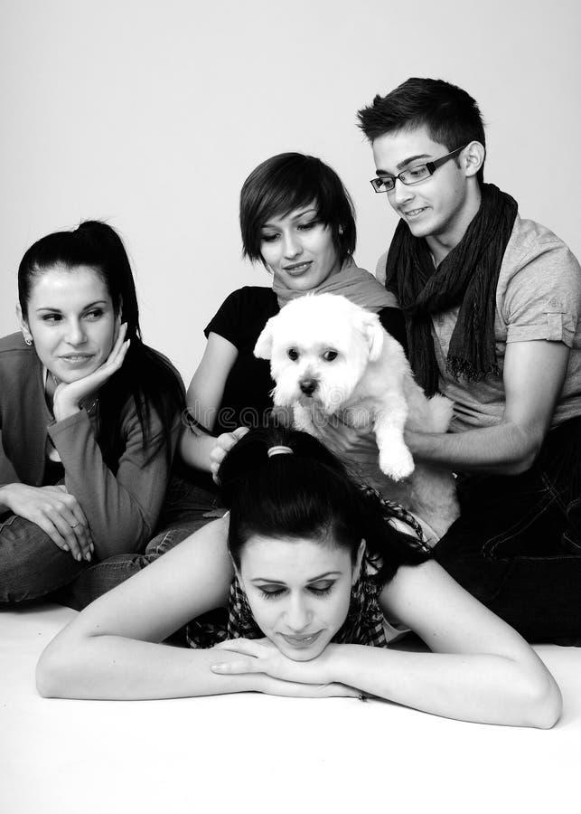Gente joven que juega con el perro imagen de archivo libre de regalías