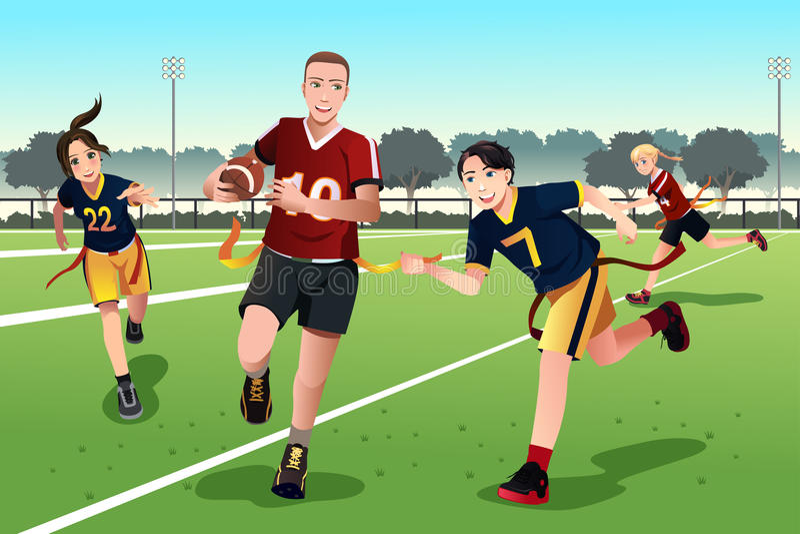 Gente joven que juega a fútbol de bandera ilustración del vector