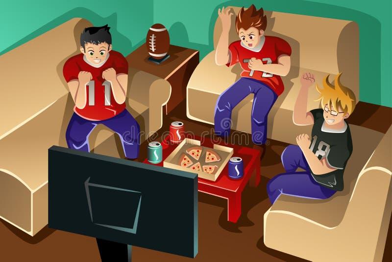 Gente joven que mira fútbol americano stock de ilustración