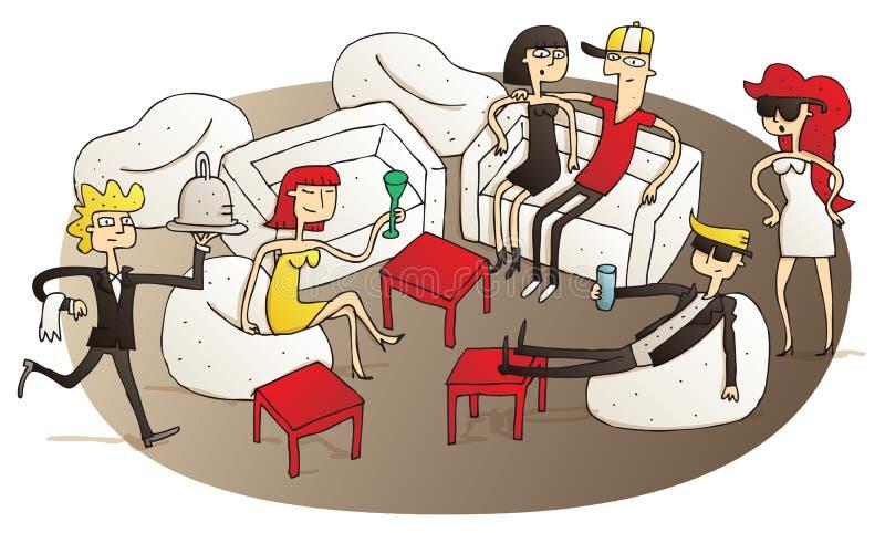 Gente joven que se divierte en salón de V.I.P libre illustration