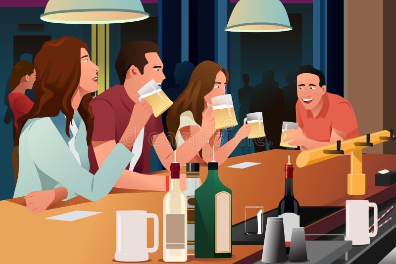 Gente joven que se divierte en una barra stock de ilustración