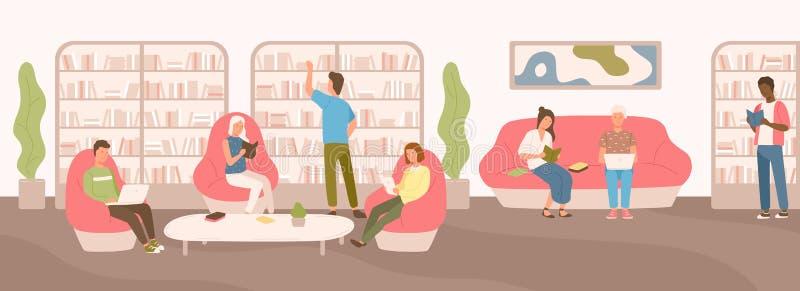 Gente joven que se sienta en el sofá cómodo y en las butacas que estudian y que leen en la biblioteca pública Hombres y mujeres p libre illustration