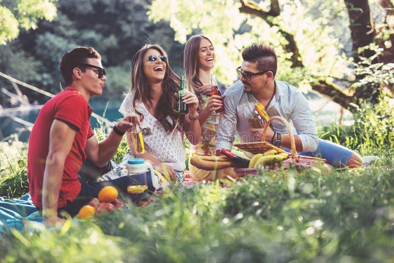 Gente joven que tiene comida campestre cerca del río imágenes de archivo libres de regalías