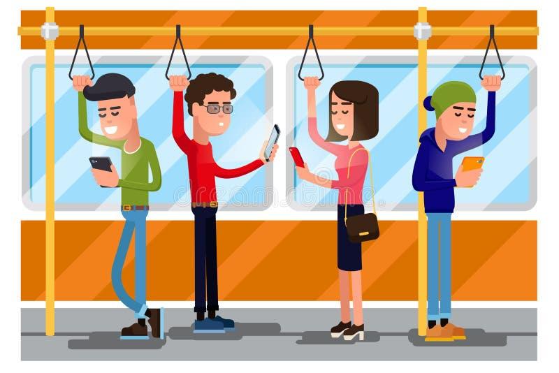 Gente joven que usa el smartphone que socializa en transporte público Vector el concepto background stock de ilustración
