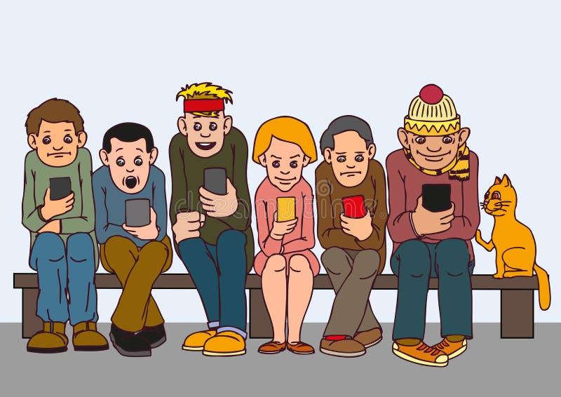 Gente joven Siéntese en el banco La atención no paga el uno al otro Escuche el musi stock de ilustración